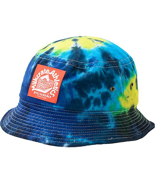 aed8db135 Milkcrate Neon Blue Tie Dye Bucket Hat