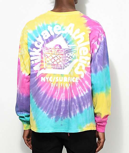 Milkcrate Smiles Long Sleeve Pastel Tie Dye T-Shirt