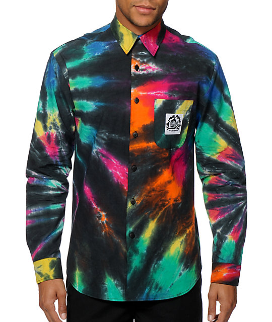 Tie Dye button down shirt long sleeved r8Z5j