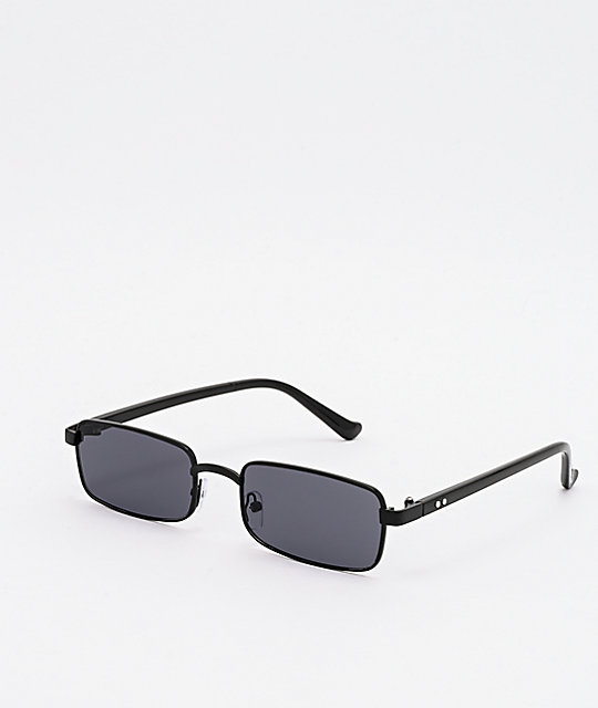 Mini Rectangular Black Sunglasses