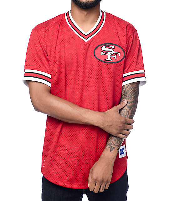 pretty nice fa04c b1dcf Mitchell & Ness SF 49ers Red Mesh V Neck Jersey