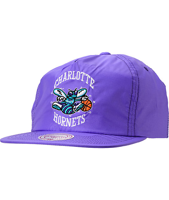 Mitchell And Ness Hornets Neon Purple Nylon Snapback