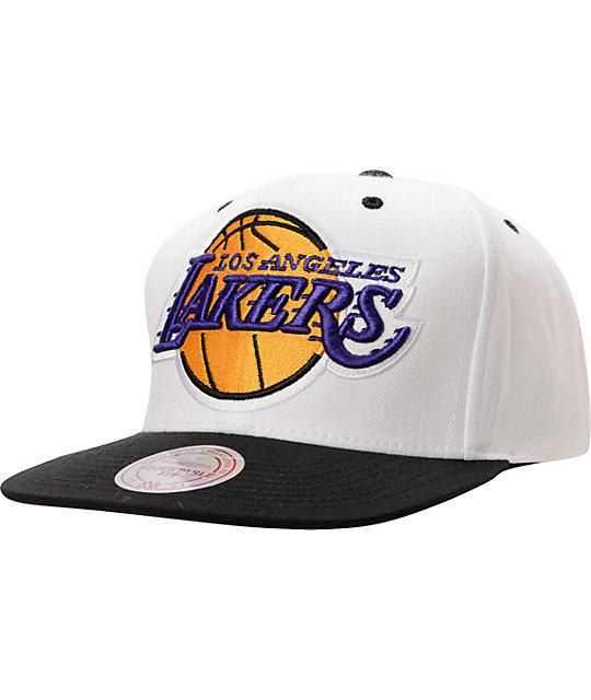ac4062d229730a Mitchell And Ness LA Lakers XL Logo White & Black Snapback | Zumiez