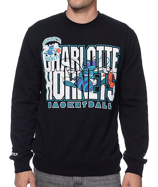 new arrival d7c50 4612c Mitchell and Ness Charlotte Hornets Tech Foul Black Crew Neck Sweatshirt