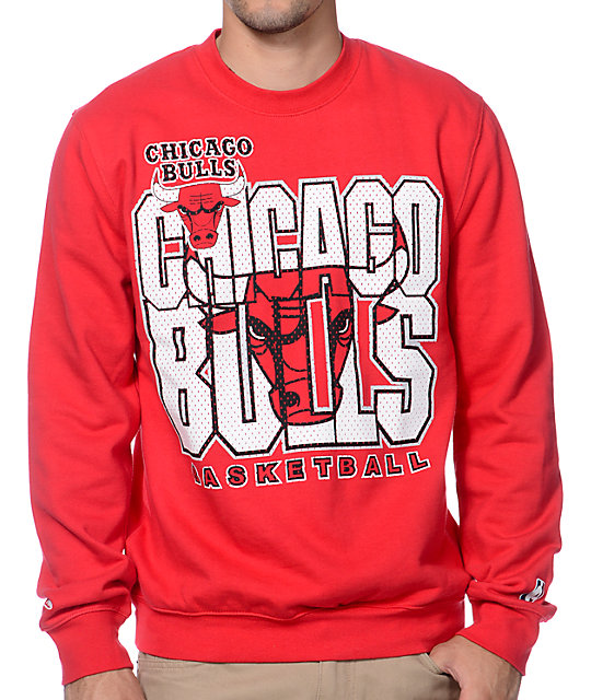 Mitchell and Ness NBA Chicago Bulls Technical Foul Red Crew Neck Sweatshirt   4f8e72e9f
