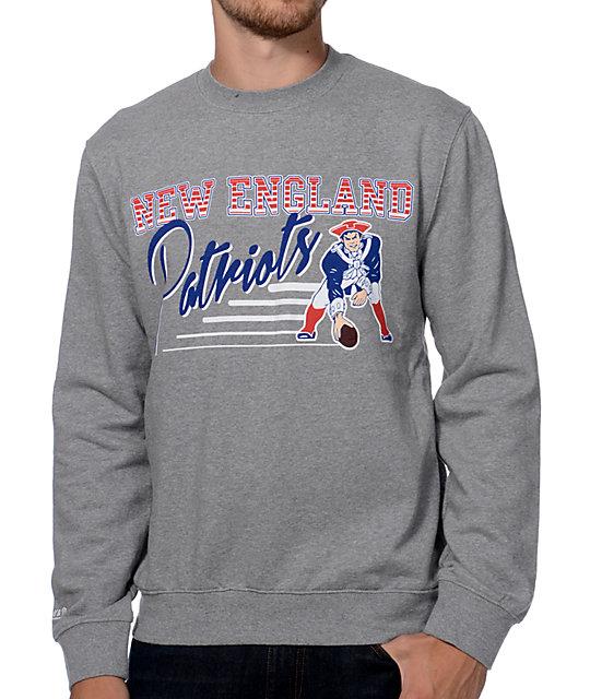 Mitchell and Ness New England Patriots Training Room Grey Crew Neck  Sweatshirt  8f342afcc
