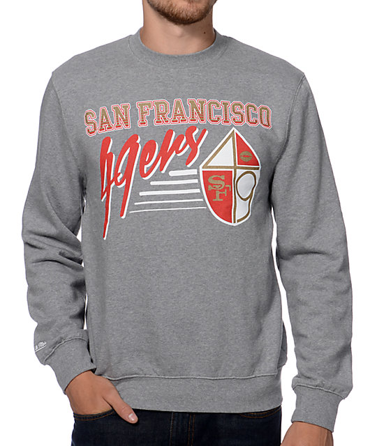 newest collection b41cd 8c52f Mitchell and Ness San Francisco 49ers Training Room Grey Crew Neck  Sweatshirt   Zumiez