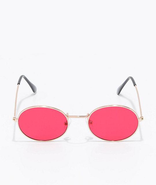 Mya Red Translucent Round Sunglasses