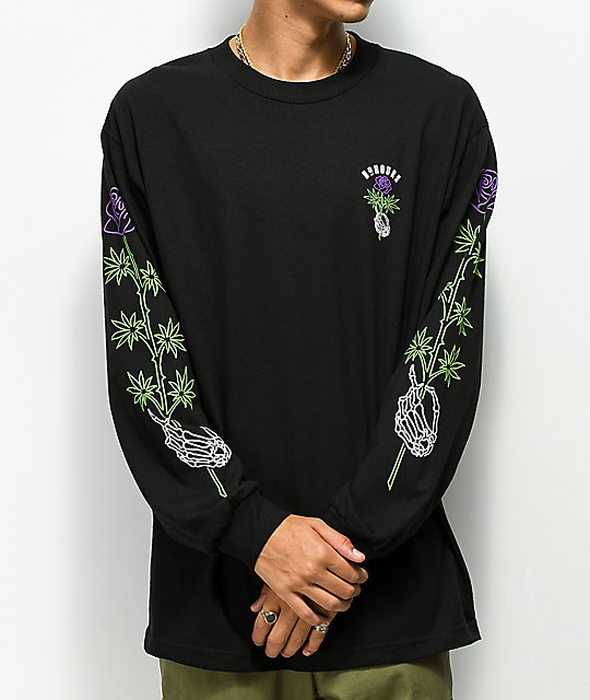 N°Hours Long Stem 2 Black Long Sleeve T-Shirt
