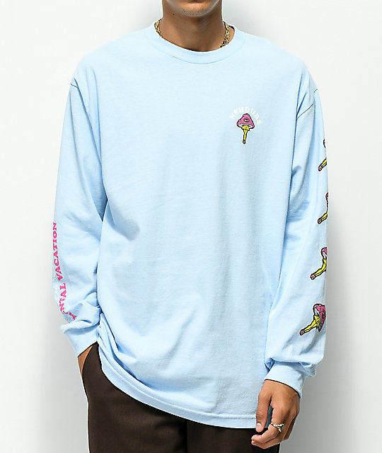 N°Hours Mental Vaycay Blue Long Sleeve T-Shirt