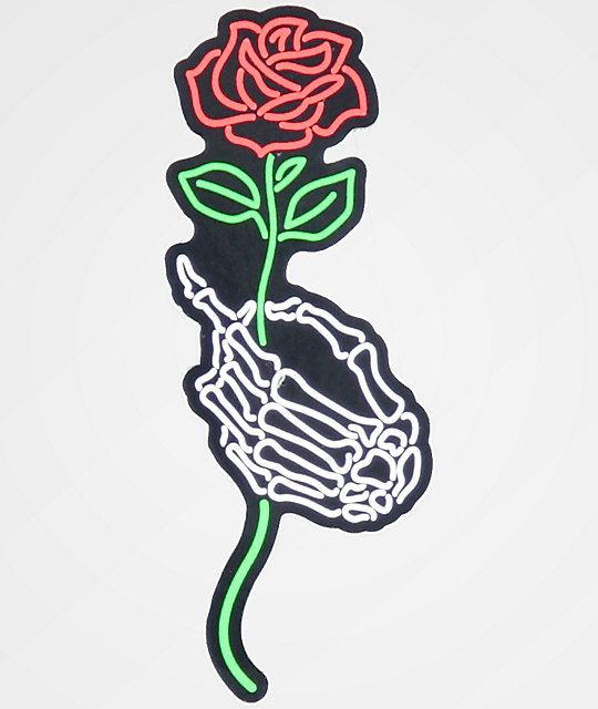N hours skeleton hand rose sticker zumiez for Hand holding a rose drawing