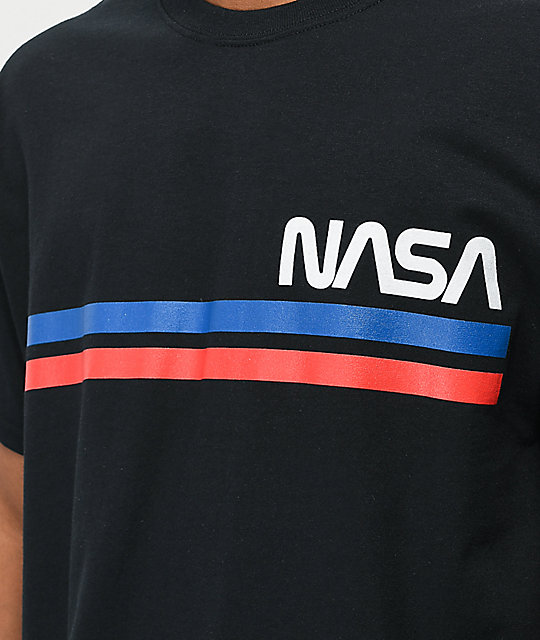 NASA Striped Logo Black T-Shirt