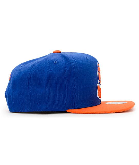 aa69f0c9b48 ... NBA Hall Of Fame x Mitchell and Ness Upside Down Knicks Blue Snapback  Hat