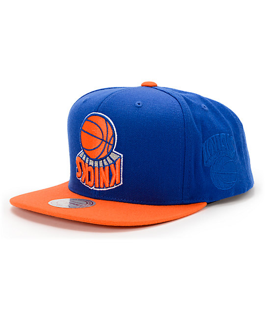 bcc74178792df NBA Hall Of Fame x Mitchell and Ness Upside Down Knicks Blue Snapback Hat