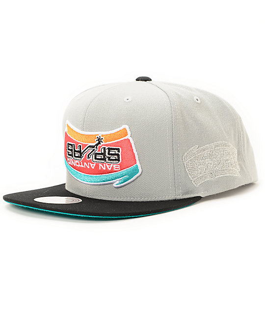 78074496b7fba ... wholesale nba hall of fame x mitchell and ness upside down spurs grey snapback  hat 6341e