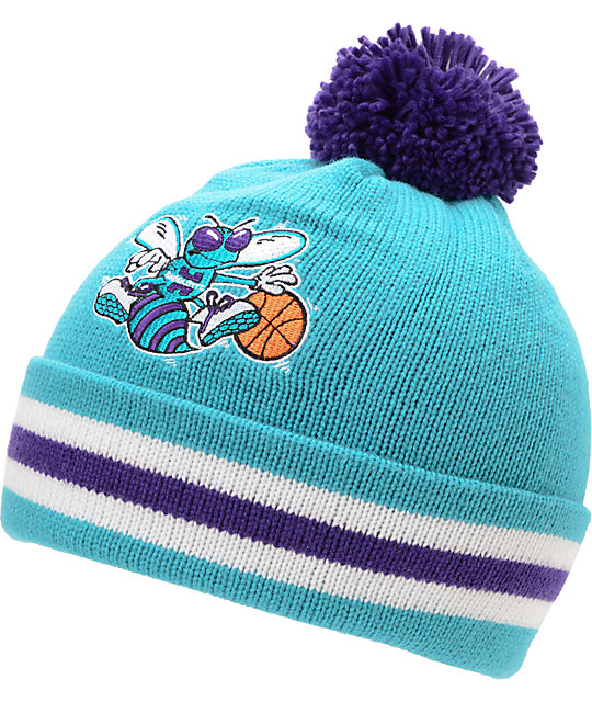 NBA Mitchell And Ness Charlotte Hornets Turquoise Pom Beanie  1ffcc851818e