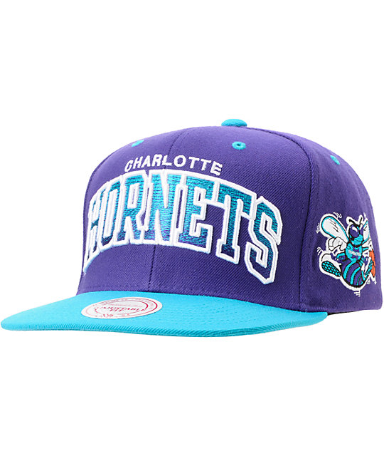 NBA Mitchell And Ness Hornets Arch Gradient Purple Snapback Hat