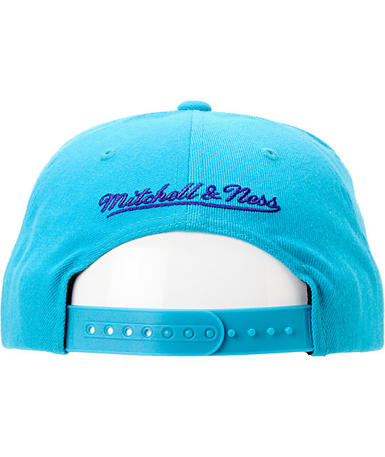NBA Mitchell And Ness Hornets Blocker Turquoise Snapback Hat