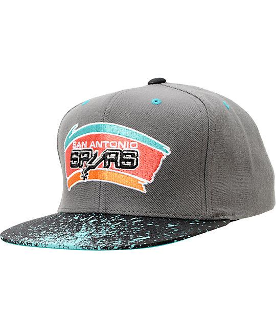 NBA Mitchell And Ness San Antonio Spurs Grey Splatter Snapback  d8cf0b93d1d
