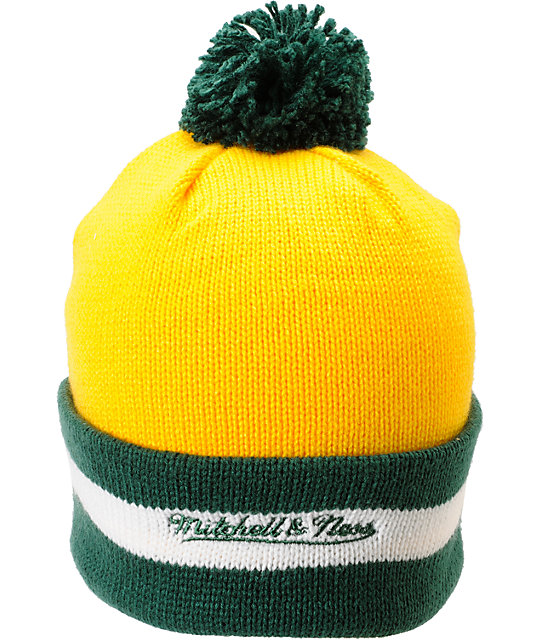 NBA Mitchell And Ness Seattle Supersonics Pom Beanie