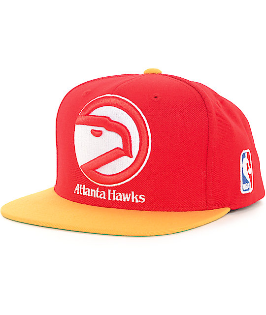 promo code 75cda 24ba6 NBA Mitchell and Ness Atlanta Hawks XL Logo Red   Gold Snapback Hat   Zumiez