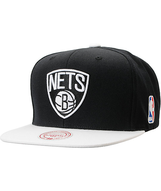 big sale 40f73 d74dd NBA Mitchell and Ness Brooklyn Nets 2Tone Black Snapback Hat   Zumiez