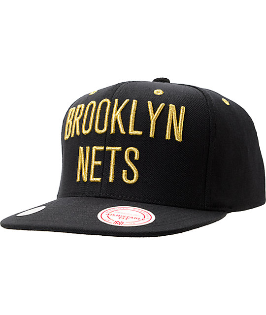 NBA Mitchell and Ness Brooklyn Nets Black   Gold Snapback Hat  917472687bb