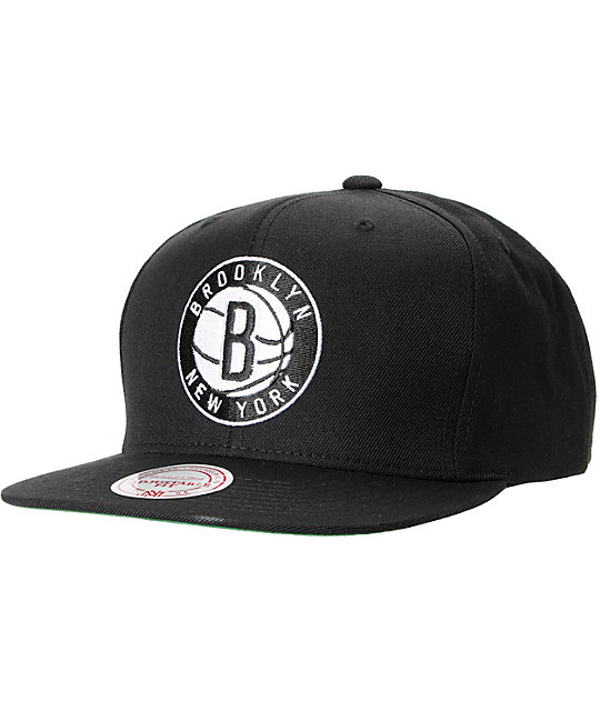 NBA Mitchell and Ness Brooklyn Nets Black Solid Snapback Hat