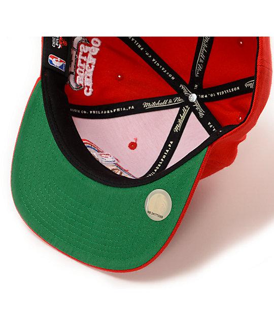 4fa005d8bca ... NBA Mitchell and Ness Bulls 1997 Finals Red Snapback Hat