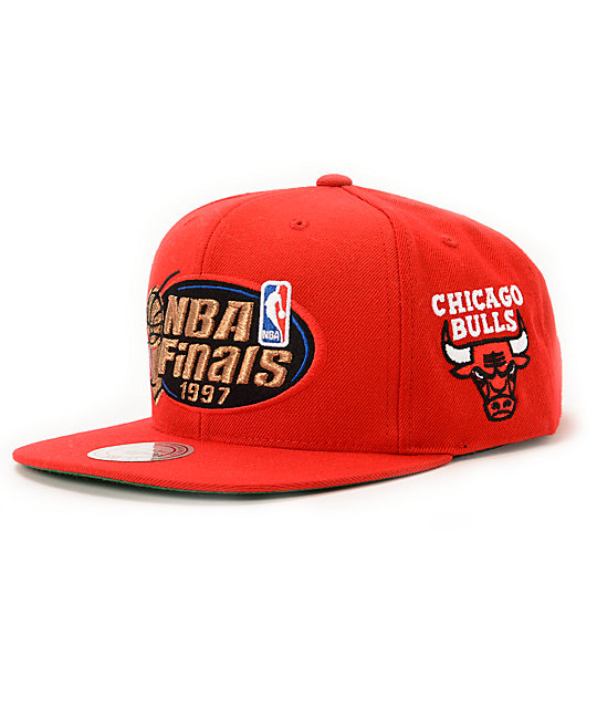 aee9a6f97ef NBA Mitchell and Ness Bulls 1997 Finals Red Snapback Hat