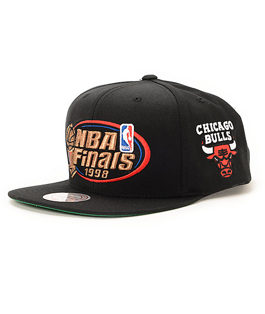 NBA Mitchell and Ness Bulls 1998 Finals Black Snapback Hat ...