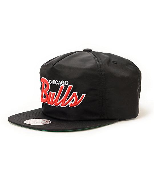 NBA Mitchell and Ness Bulls Script Black Nylon Strapback Hat  feba5081977