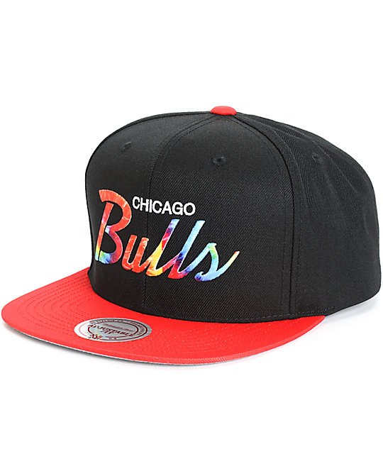 b959fdb564a32 NBA Mitchell and Ness Bulls Tie Dye Script Snapback Hat