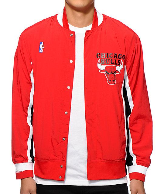 d5d1eab0284 NBA Mitchell and Ness Bulls Warmup Jacket