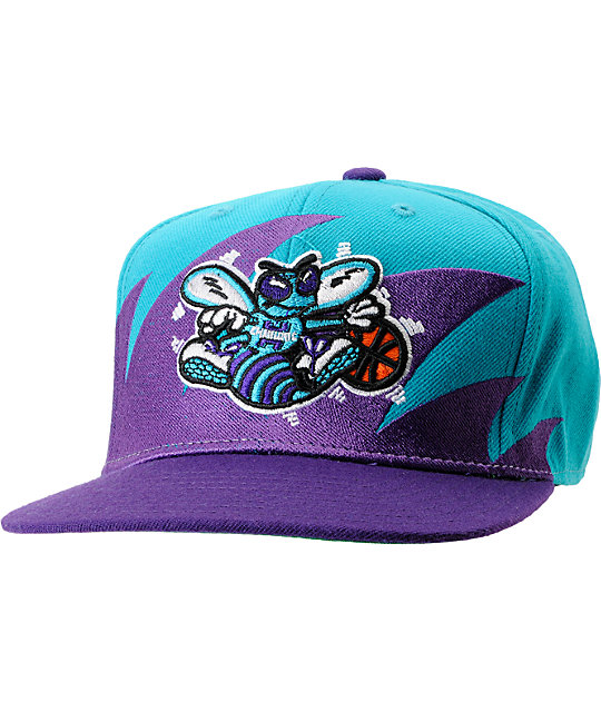 59ef509e25d NBA Mitchell and Ness Charlotte Hornets Sharktooth Snapback Hat
