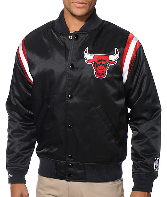 615f80683f0 NBA Mitchell and Ness Chicago Bulls Division Black Satin Jacket