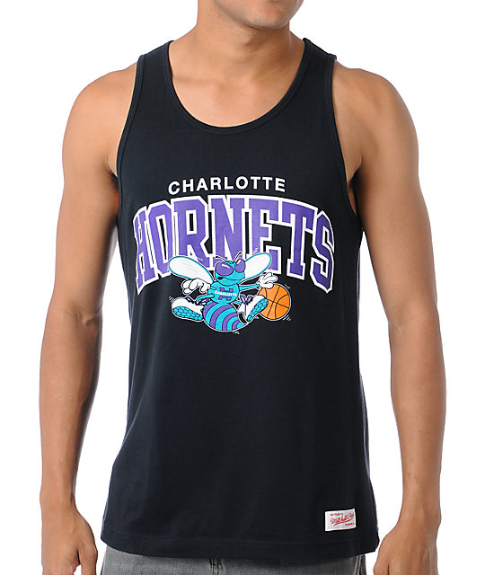 NBA Mitchell and Ness Hornets Arch Black Tank Top