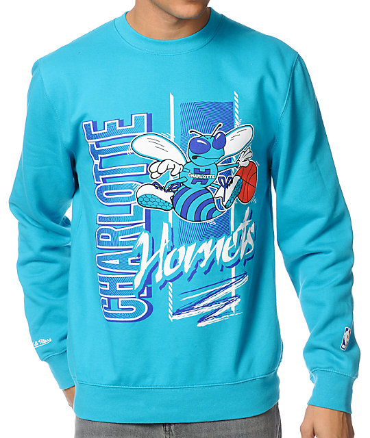 NBA Mitchell and Ness Hornets Zip Zag Turquoise Crew Neck Sweatshirt