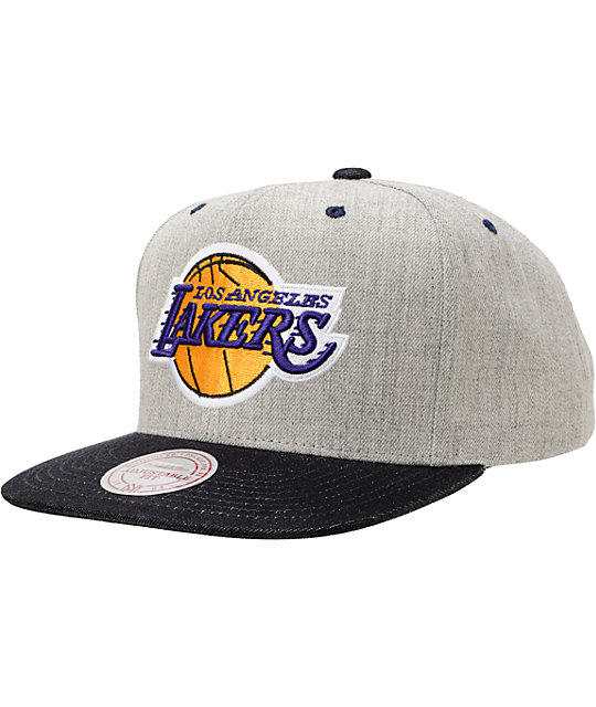 NBA Mitchell and Ness Lakers Grey Denim 2Tone Snapback Hat  1f3f215594e