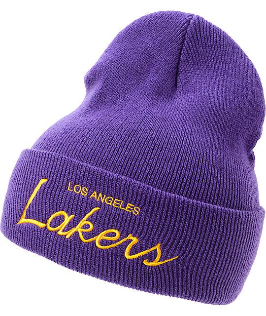 NBA Mitchell and Ness Lakers Purple Cuff Beanie  5b8bb89767f