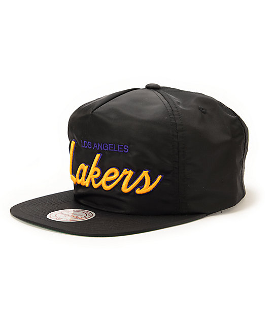 5e7ea4841e NBA Mitchell and Ness Lakers Script Black Nylon Strapback Hat