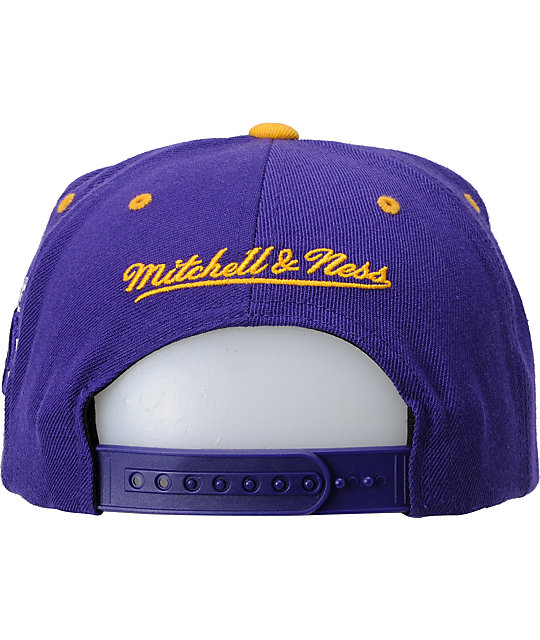 NBA Mitchell and Ness Lakers Wordmark Snapback Hat