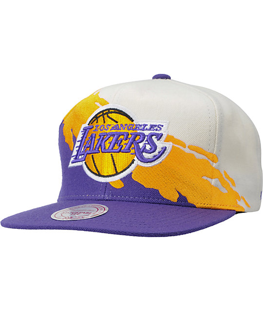 857d416bcd NBA Mitchell and Ness Los Angeles Lakers Paintbrush Snapback Hat ...