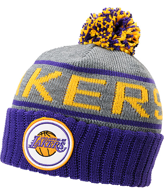 NBA Mitchell and Ness Los Angeles Lakers Pom Beanie  3c977b32abc