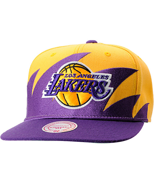 NBA Mitchell and Ness Los Angeles Lakers Sharktooth Snapback Hat ... dca574a02d6