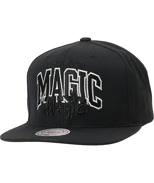 NBA Mitchell and Ness Magic Black Arch Snapback Hat