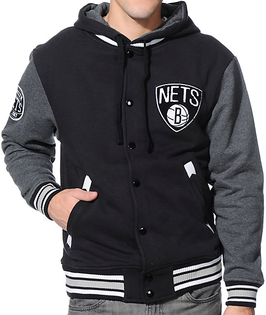 outlet store 4a3ba ee189 NBA Mitchell and Ness Nets 2nd Quarter Hooded Varsity Jacket   Zumiez