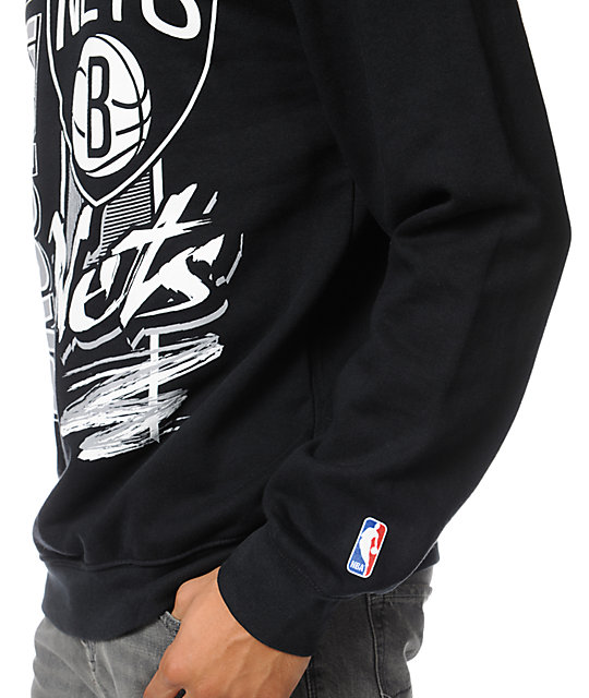 NBA Mitchell and Ness Nets Zip Zag Black Crew Neck Sweatshirt