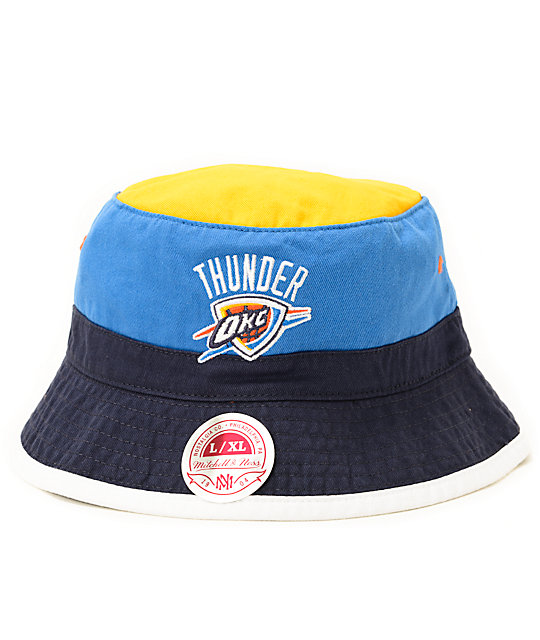 141436ec7d NBA Mitchell and Ness OKC Thunder Color Block Bucket Hat