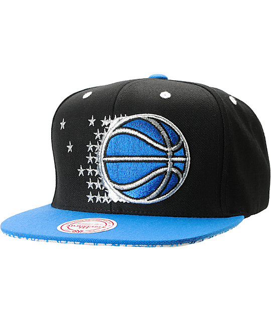 best service a319b 0781d NBA Mitchell and Ness Orlando Magic Crackle Snapback Hat   Zumiez